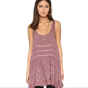 Free People Voile Tiny Dot Trapeze Slip Small